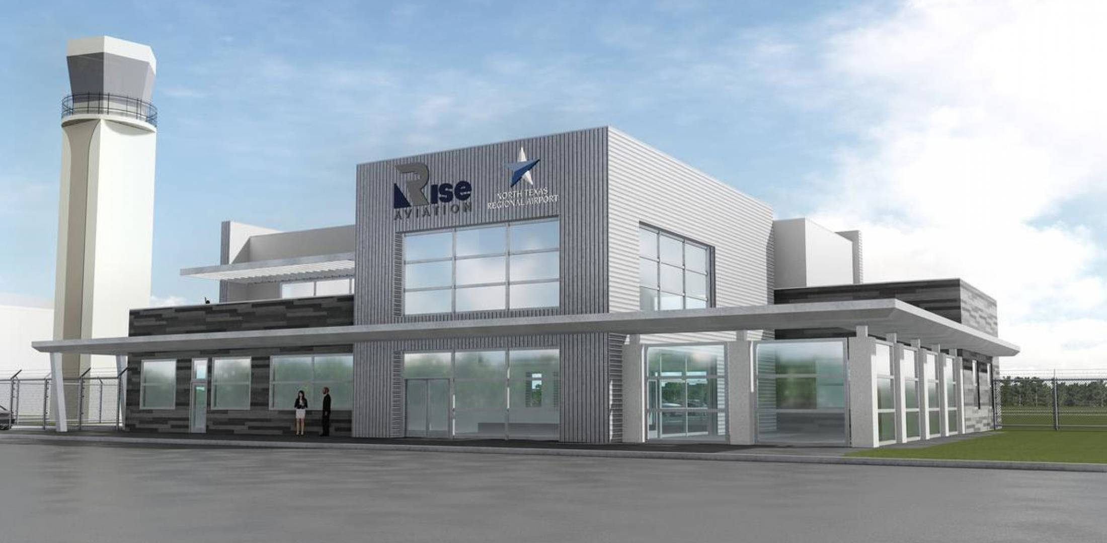 artist rendering of planned Rise Aviation terminal at KGYI