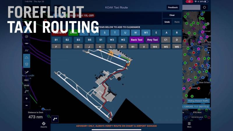 ForeFlight Introduces Taxi Routing on Airport Map